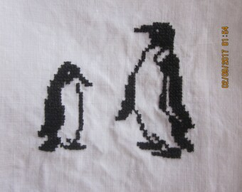 VintageGuest Towel Chatty Penguins Hostess Gift Penguin motif, Penguins,Counted Cross Stitch, Black and White