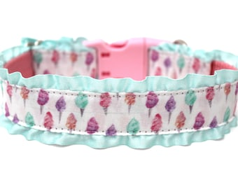 """Pink Dog Collar 1"""" Cotton Candy Dog Collar With Aqua Ruffles SIZE SMALL Ready To Ship"""