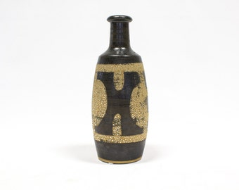 Lapid Pottery Vase, Mid Century Modern from Israel, Espresso Brown