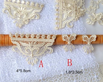 50pcs 1-5cm wide apricot embroidered collars appliques patches H7R378Y0329V free ship