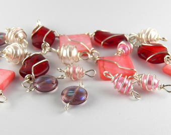 20 Pink Red Peach Wire Wrapped Glass Beads - Craft Supplies - Jewelry Beading Supplies - Handmade Jewelry Links - Jewelry Supplies Free Ship