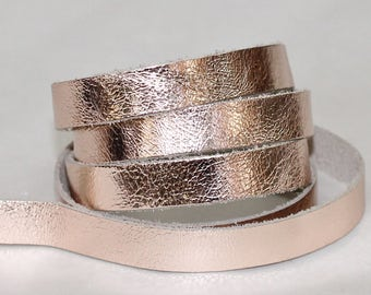 New 15mm Rose Gold Leather, Cowhide Genuine Leather Strap