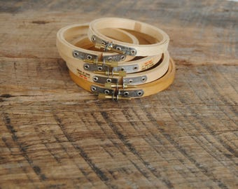 Wood Hoops Assorted Sizes Small Round Set of 5