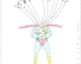 Multi headed Super woman cartoon