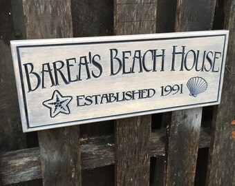 Personalized beach house sign - Cabin sign - Last name address sign - Rustic bar sign - Gift for him - Groomsman gift