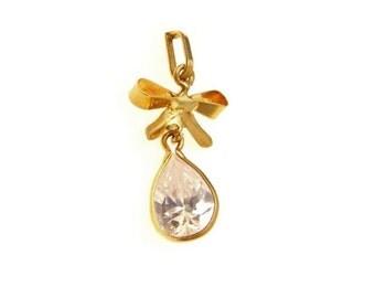 Vintage 14k Gold Bow Pendant Pear Cubic Zirconia Drop