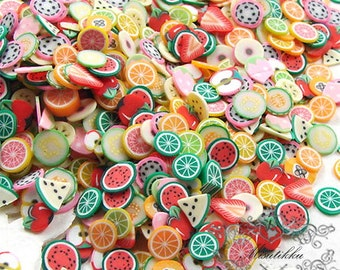 250/500/1000 PCS Fruit Polymer Clay Slices Assorted Kawaii Food Clay Cane Slices Fimo Dollhouse Mixed Manicure Nail Art Decoration PSC.FR