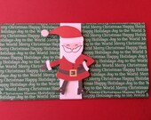 Christmas Money/Gift Card, Green, Merry Christmas, Happy Holidays, More Words, Handmade, Raised Santa Claus, White Band, Bell Inside