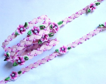 """Ribbon Ripped Trim Lace Sewing White pink 5/16"""" with ombre flowers price for 1 yard"""