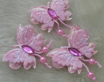 Padded Butterfly Appliques pink color set of 4