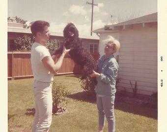 "Vintage Snapshot ""Fifi"" Standard Poodle Dog Kodacolor Found Photo"