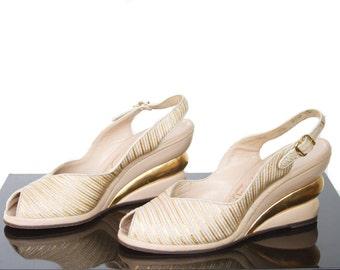 1940s Platforms // Stacked Gold Ribbed Platform Peep Toe Wedge High Heels