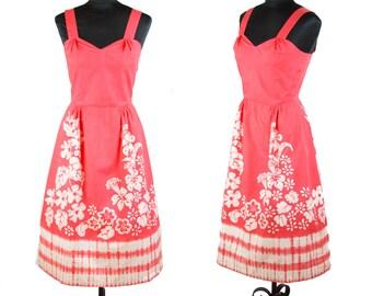 1950s Dress // Batik Dyed Papaya Cotton Sundress by Bette of Jamaica