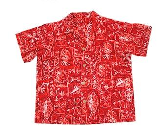 1950s Mens Shirt // Red Hawaiian Fish Pineapple Flower Hawaii Tiki Shirt