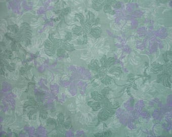 Sea Green with stamped Flower Design  - Fat Quarter and by the yard