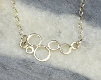 Silver Bubbles Necklace | Dainty Circle Necklace | Sterling Silver