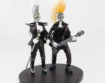 Wedding dolls Punk- rock never die cake topper Skeleton bride & groom