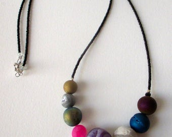 Solar system necklace with druzy planets and even a tiny Pluto astronomy necklace science