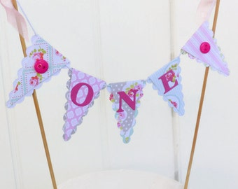 "Girls First Birthday Cake Bunting - 6"" Smash Cake Topper - Tea Party - Pink, Mint - Floral, Buttons"