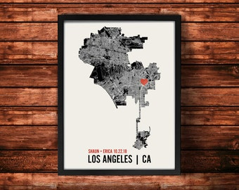 Los Angeles Wedding Map Art | Los Angeles Wedding Gift | Los Angeles Art Print | Los Angeles Poster | Los Angeles Map