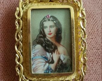 Antique 18kt Gold Painted portrait Pendant Slide Italian