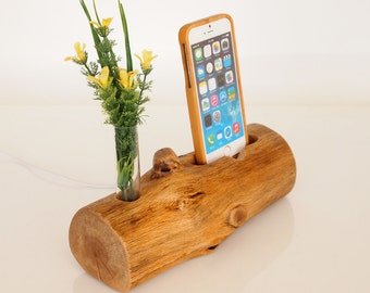 Wooden iPhone Dock - iPhone 7 dock - vase holder - unique design - rustic iPhone dock - handmade - Unique gift