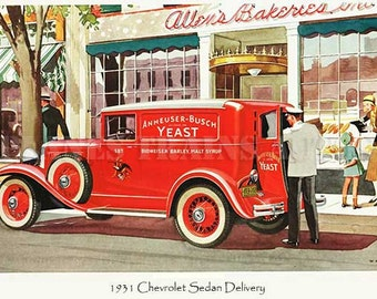 Chevrolet Vintage Auto Advert. 1931 Chevrolet Sedan Delivery. PRINT 10 x 8 inches