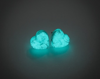 Blue Heart earrings - glow in the dark heart earrings, glowing studs, glow stud earrings, glowing jewelry, unique gift, magical, fantasy
