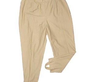 "Retro STRETCH STIRRUP Pants Never Worn Waist 40-46"" by Portraits Made in USA by Portraits Beige Khaki"