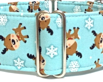 Christmas Themed Greyhound, Whippet, Sighthound Martingale Collar or Buckle Dog Collar