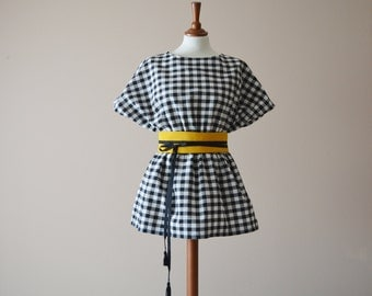 Gingham tunic, Japanese tunic, Black and white tunic, Tshirt top, Gingham mini dress, Cotton top, Cotton shirt, Tunic top