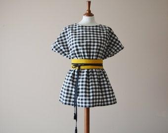 Gingham tunic, Japanese tunic, Black and white tunic, Tshirt top, Gingham mini dress, Cotton top, Cotton shirt, Tunic top
