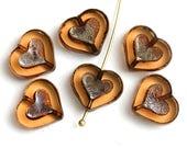 Smokey Topaz Heart beads, Picasso finish czech glass beads, table cut glass heart - 14mm - 6Pc - 2980