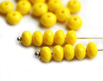 Sunny Yellow bright Czech beads, glass spacers, rondelle, gemstone cut - 3x5mm - 30pc - 1317