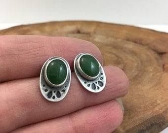 Jade Earrings Handmade in Sterling Silver