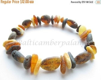 17%OFF--CHRISTMAS SALE Raw Unpolished Black Baltic Amber Stretchy Bracelet. For Unisex Adults