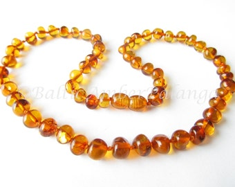 Baltic Amber Necklace, Cognac Color Rounded Beads. For Adults