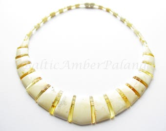 Unique White Baltic Amber Choker Cleopatra