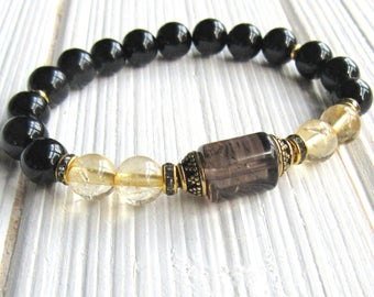 Prosperity, Citrine bracelet, Smoky Quartz, Onyx, gemstone bracelet, calming, Yoga Bracelet, Meditation bracelet, Reiki, healing bracelet
