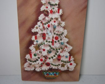 Colorful mid century 1950's-60's slenderettes by Gatto gold glittered christmas card, white christmas tree w/snowman,candy canes,candles