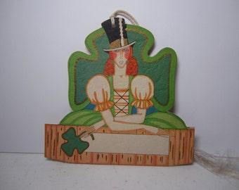 1920's unused Hallmark die cut gold gilded St. Patrick's Day bridge tally card deco lady dressed in black top hat and irish folk dress