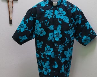 CAMP Clerical shirt turquoise flowers set on black. Size of choice. Tab or full band collar ready. Untucked style