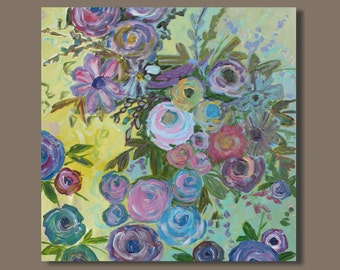FREE SHIP abstract painting, flowers, abstract floral painting, abstract flower painting, purple blue yellow, botanical art, impressionist