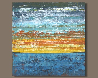 FREE SHIP abstract painting, sunset painting, square format, beach painting, landscape painting, blue yellow orange, modern art on canvas