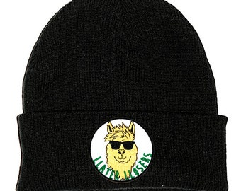 Llater Llosers Llama Black Beanie Hat Embroidered Patch - 2 Sizes - Stoner Hipster Cute Funny Shades Meme Cool Tumblr