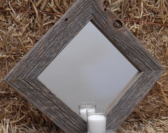 Custom Made Barnwood Framed Mirror with Shelf for votive candle or knickknack