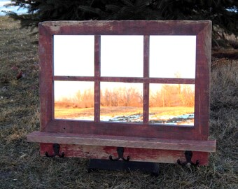 "Red Barnwood Framed Mirror with shelf and hooks -  26""w  x 19""h  (overall size)"