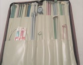 Floral Knitting Needle Case with 20 Pairs of Needles Vintage Zippered Knitting Needle Case