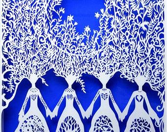 Sisters - Large Paper Cut - Paper Cut Art - Limited Edition - Decorative paper art