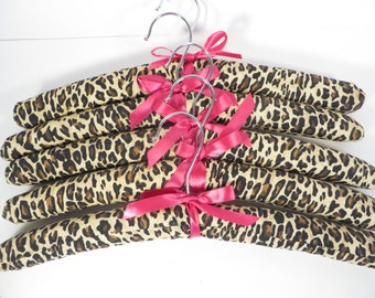 Vintage Satin Covered Leopard Print Padded Clothes Hangers - Set of 5 Satin Hangers
